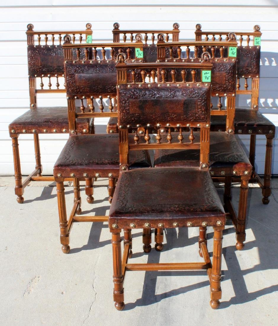 6 French tooled leather side chairs