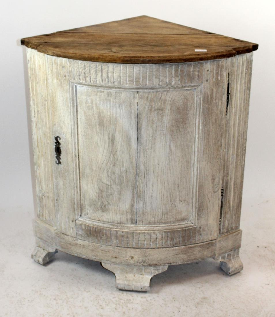 French painted demi lune oak corner cabinet