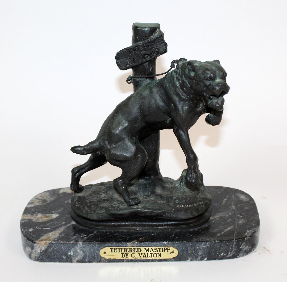 """Tethered Mastiff"" statue signed C. Valton"