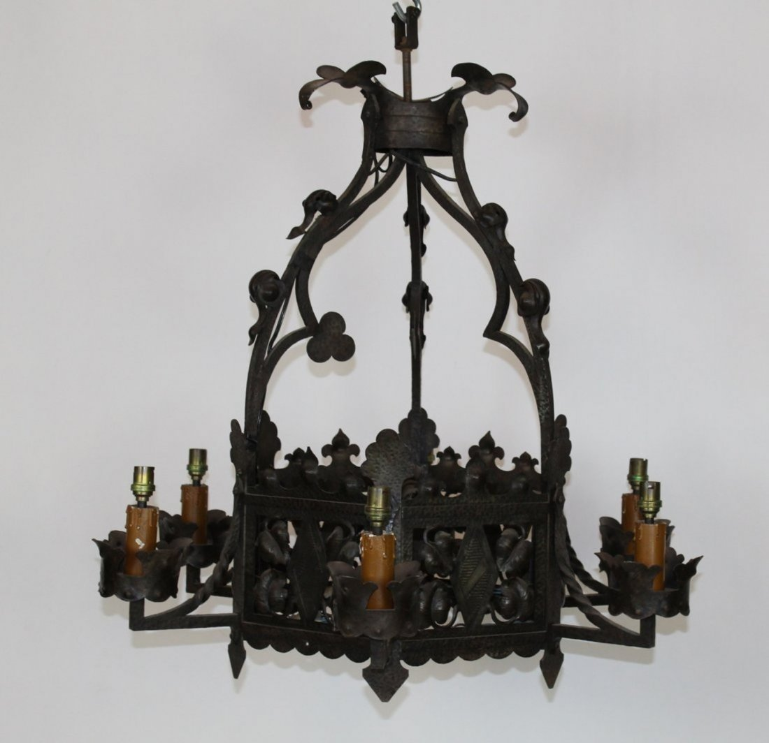 6 arm French Gothic iron chandelier