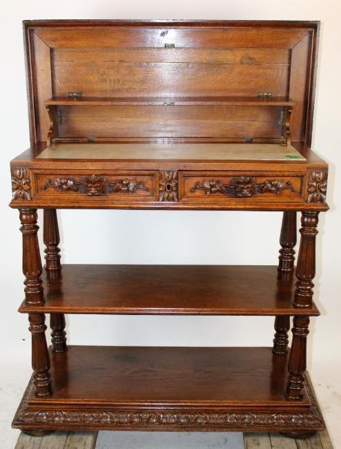 Louis XIII tiered server in oak