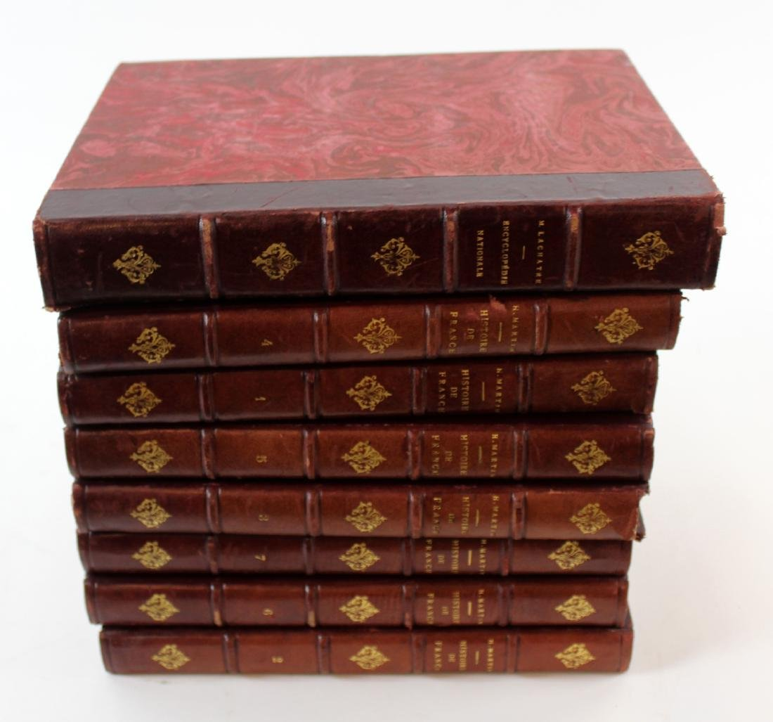 Set of 8 French red leather bound books