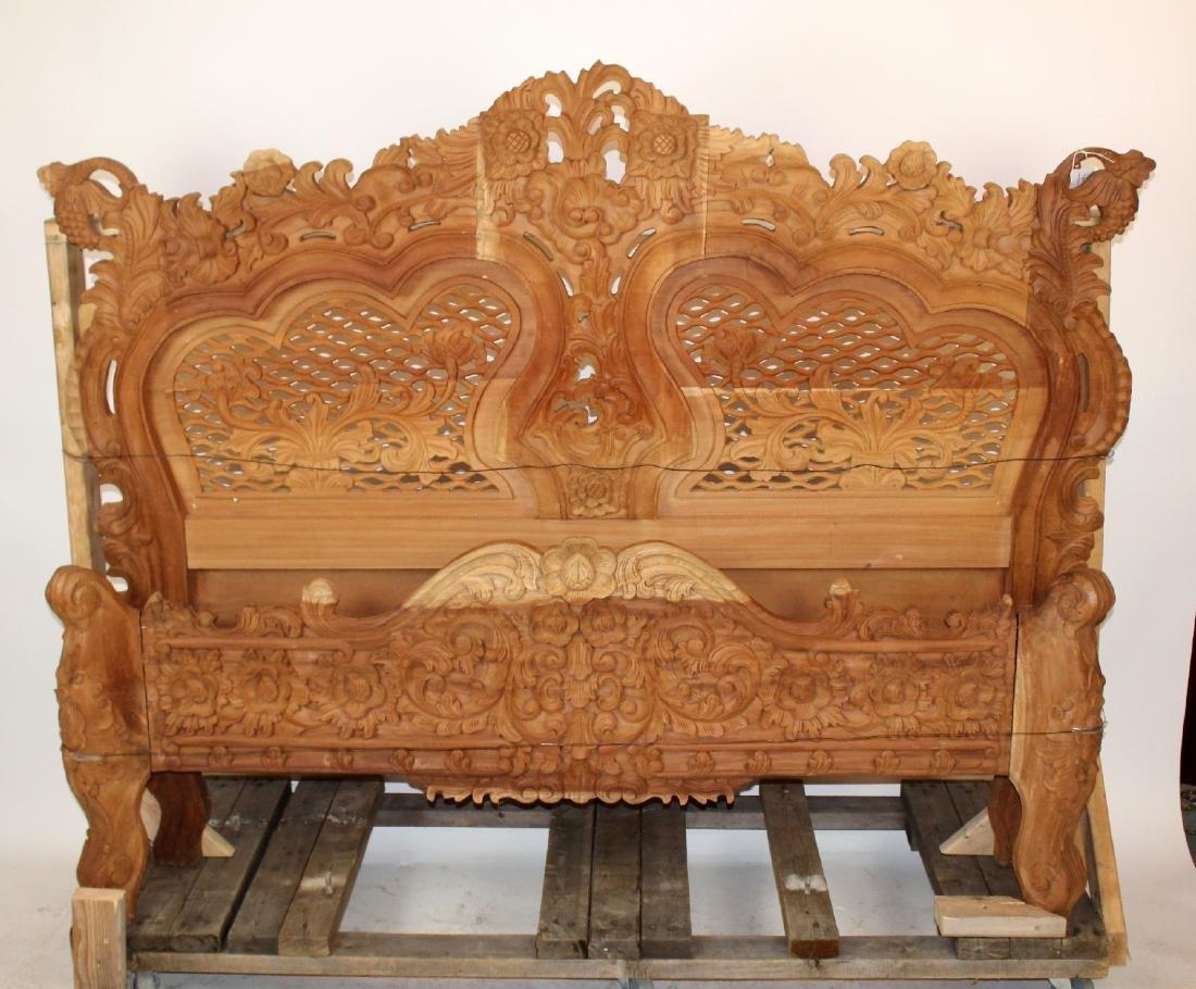 Rococo style natural mahogany bed