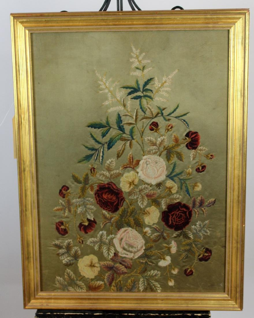 Victorian framed floral embroidery panel