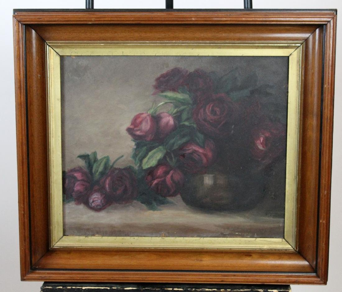Oil on board depicting roses