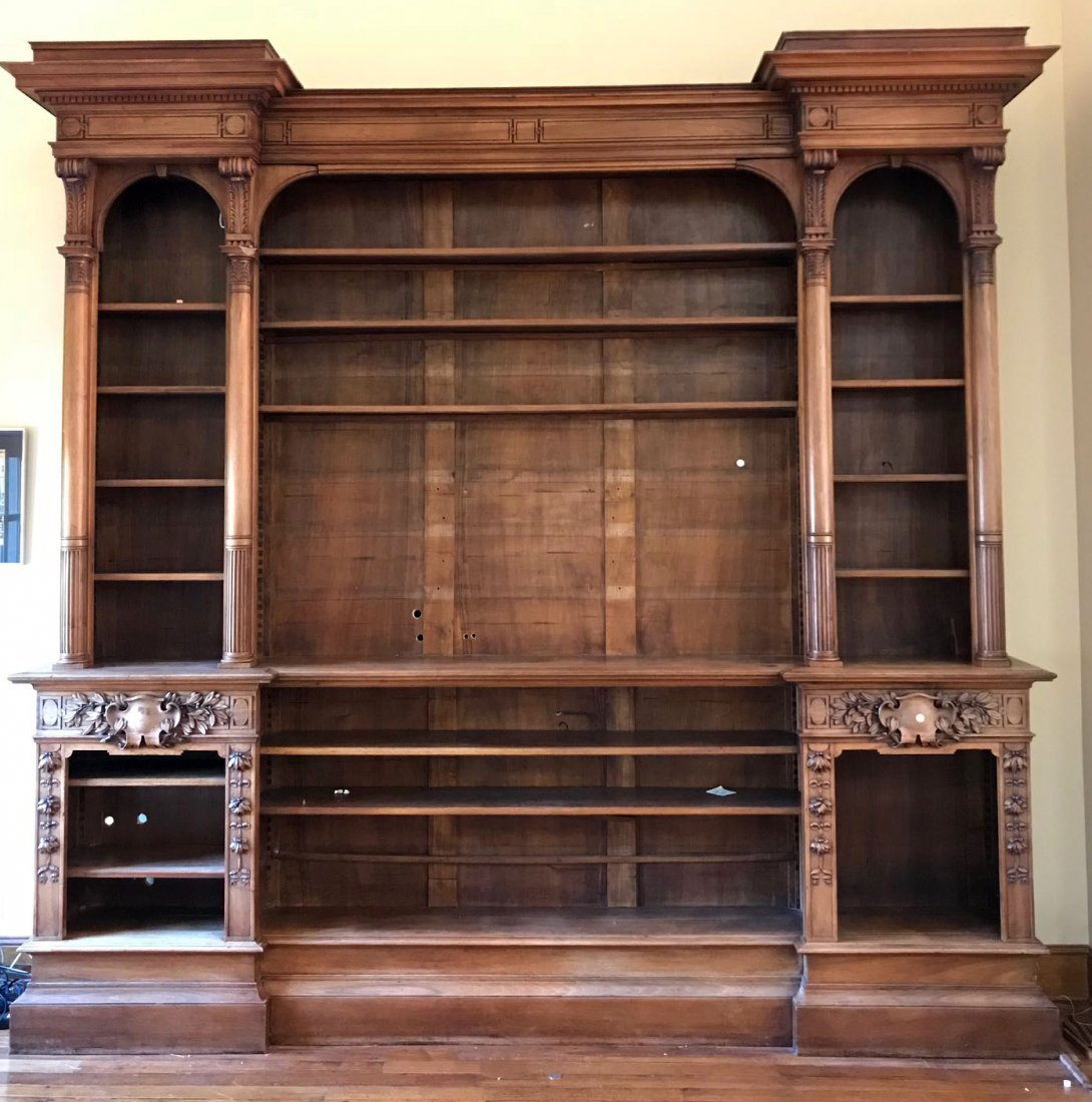 Grand scale French neo-classical bookcase in walnut