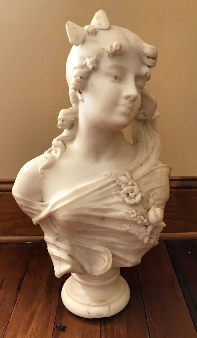 Art Nouveau carved marble bust of young girl