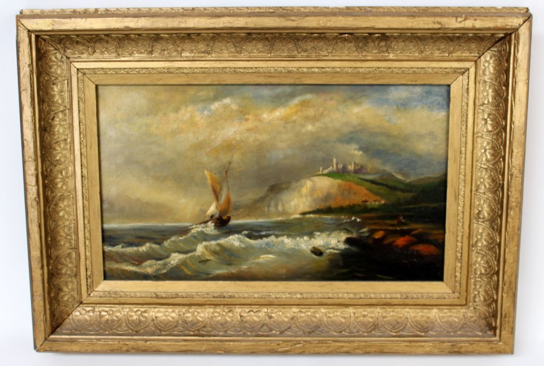 Oil on canvas seascape in gilt frame