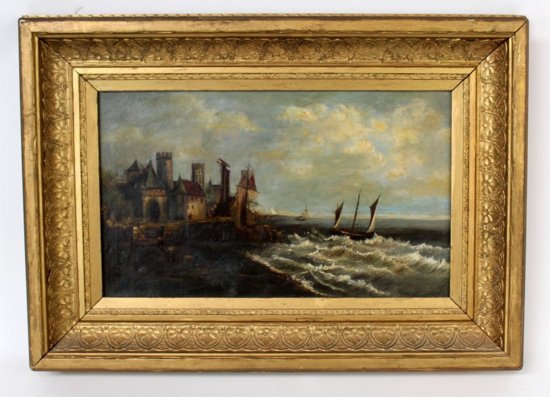 Oil on canvas seascape in gilt frame