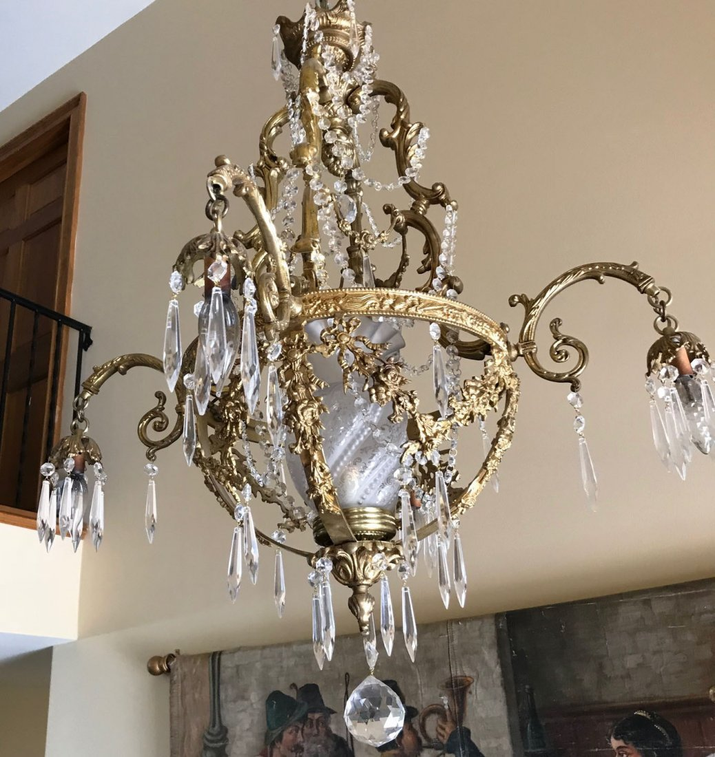 Antique gilt bronze and crystal chandelier