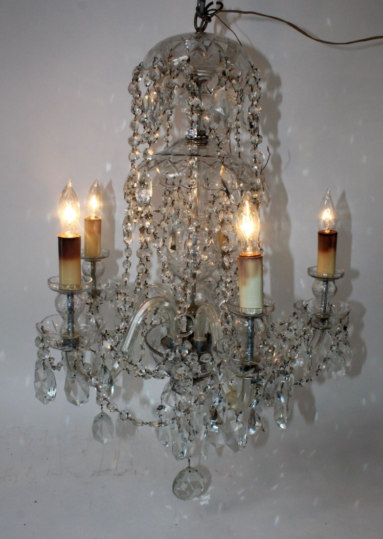 Antique crystal 6-arm chandelier