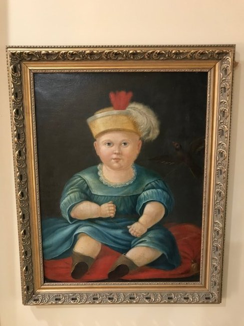 19th c Italian oil painting portrait of a baby