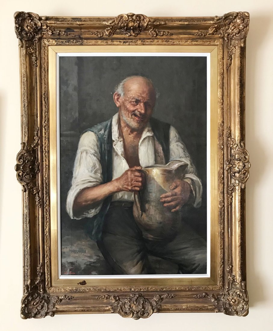Oil on canvas portrait of man with a jug