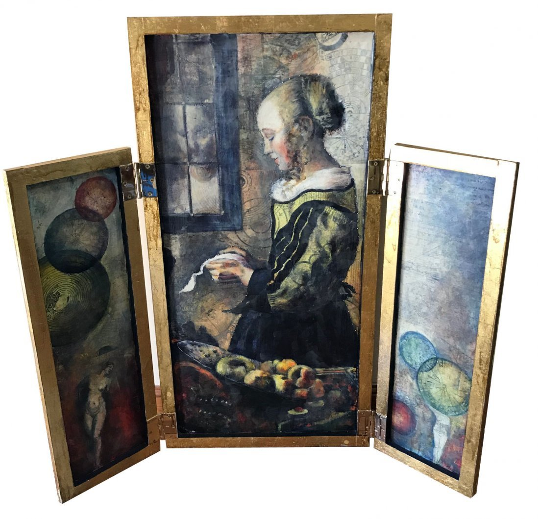 Mixed Media triptych depicting young girl