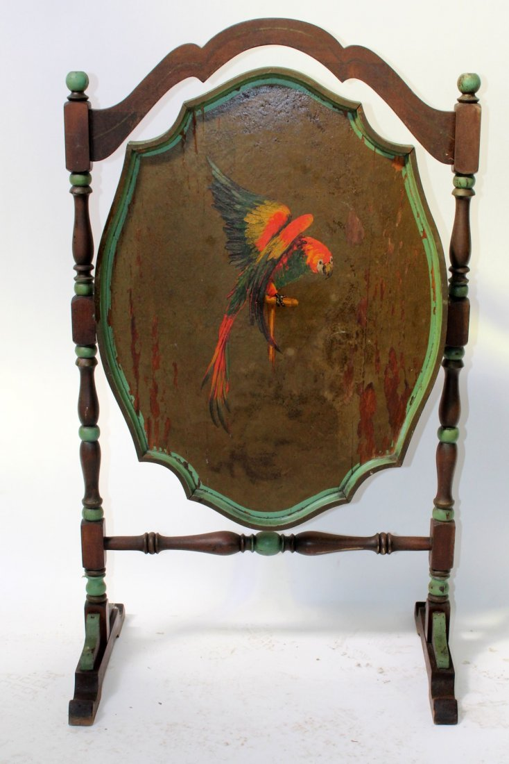 Antique Flip top tea table with painted parrot