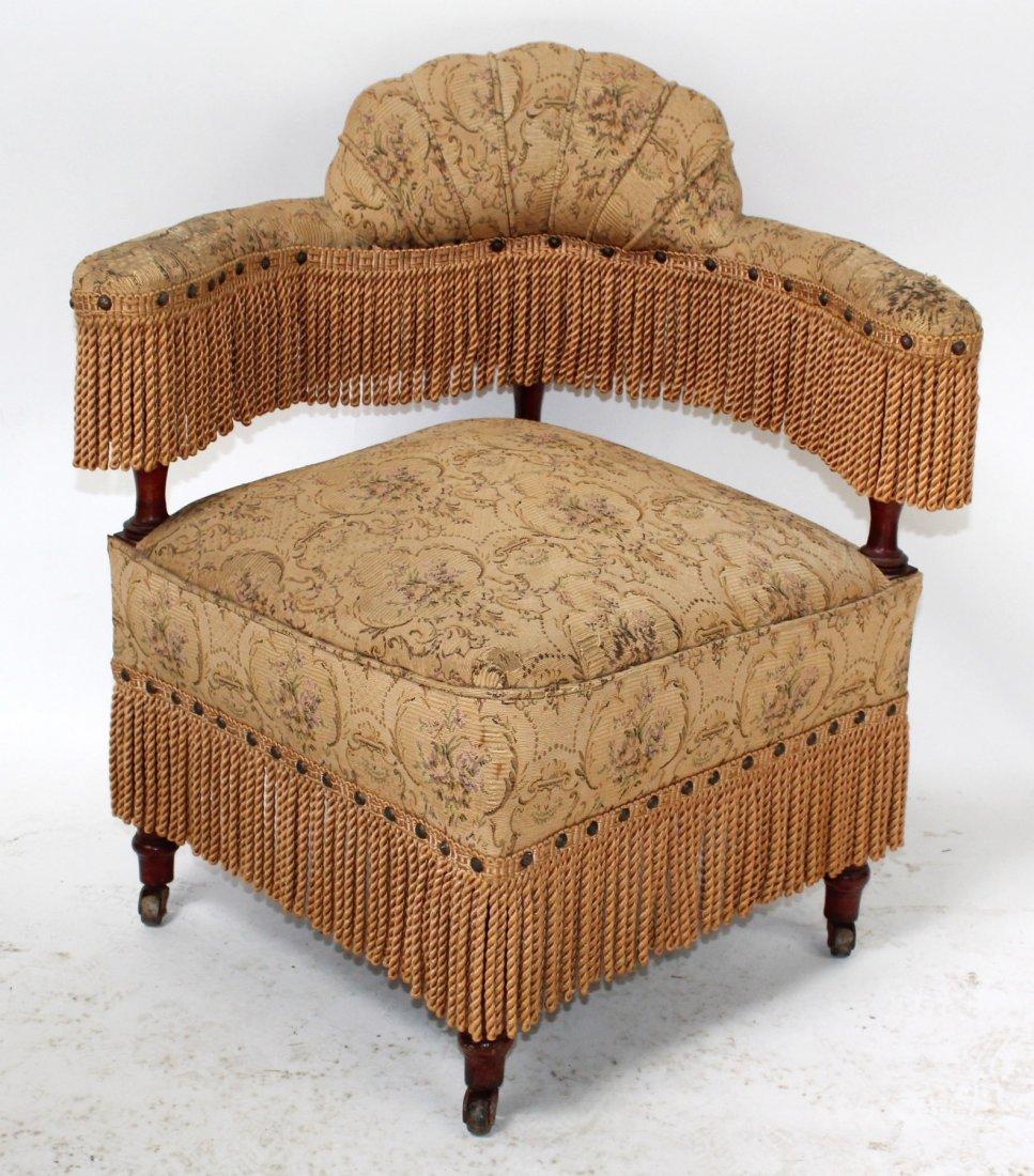 English upholstered corner chair