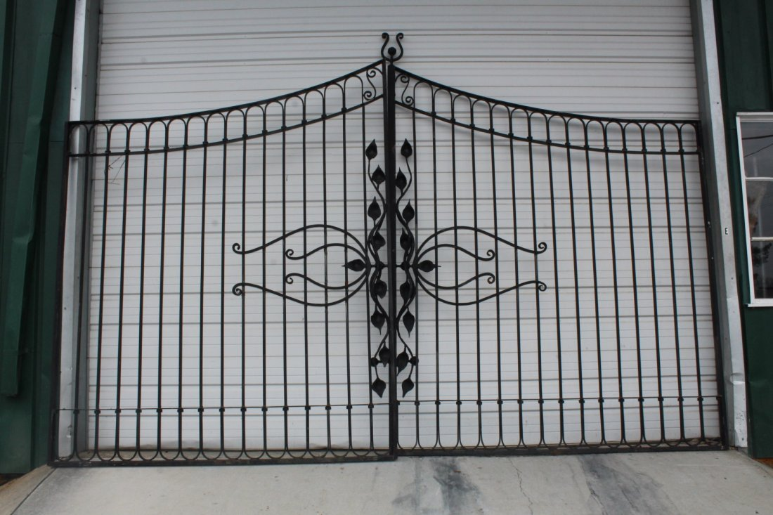 Art Nouveau style hand forged iron entry gates