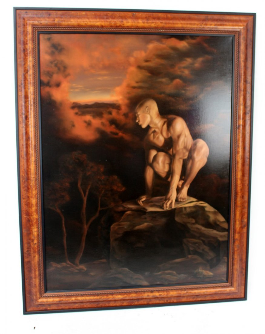Oil on canvas depicting crouching man