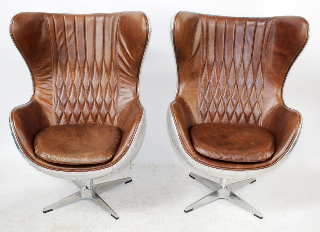 "Pair of aviation style ""Egg"" chairs"