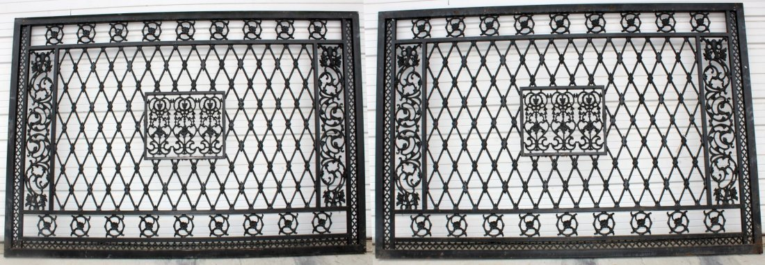 Pair of hand forged iron entry gate panels