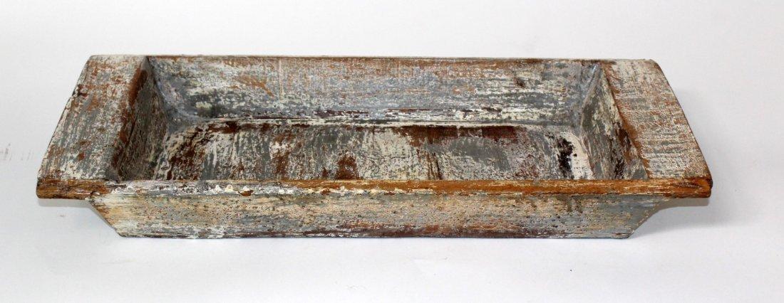 Rustic painted wooden rectangular bowl