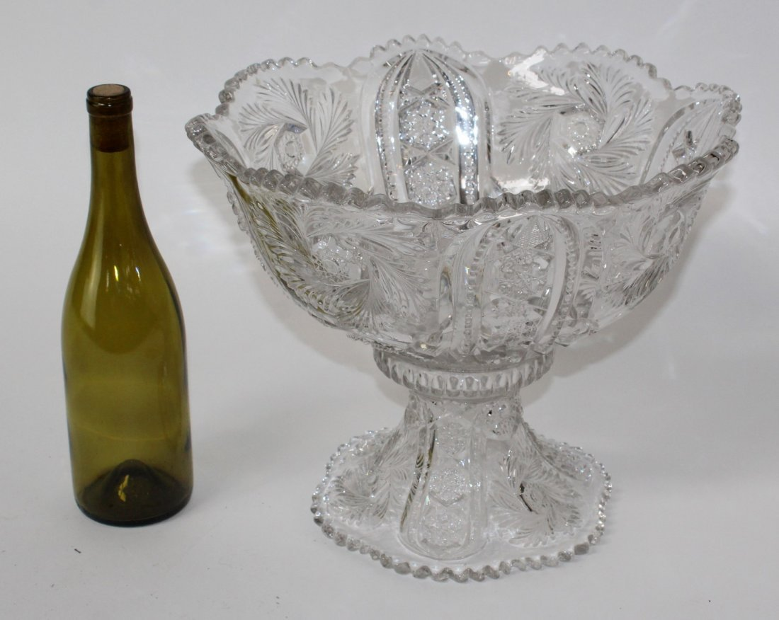 Pressed glass punch bowl - 2