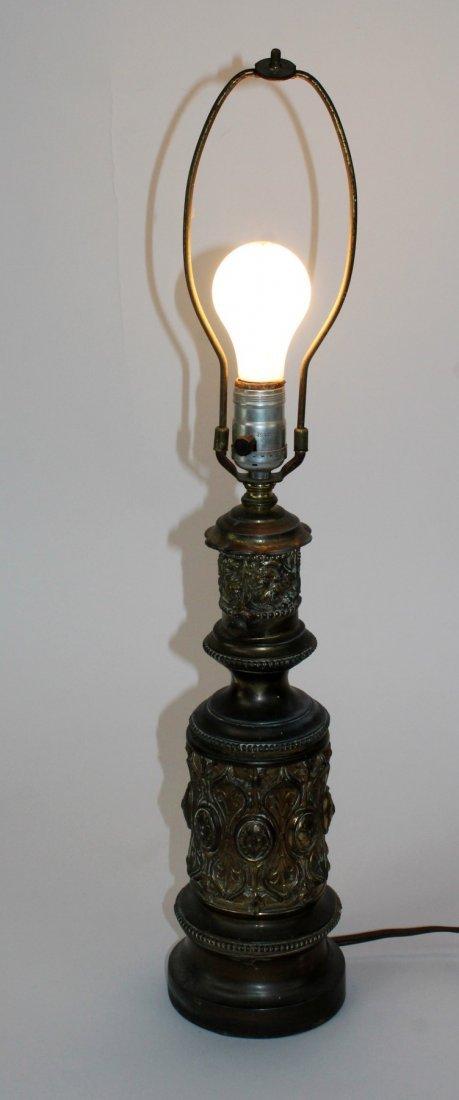 Embossed brass lamp
