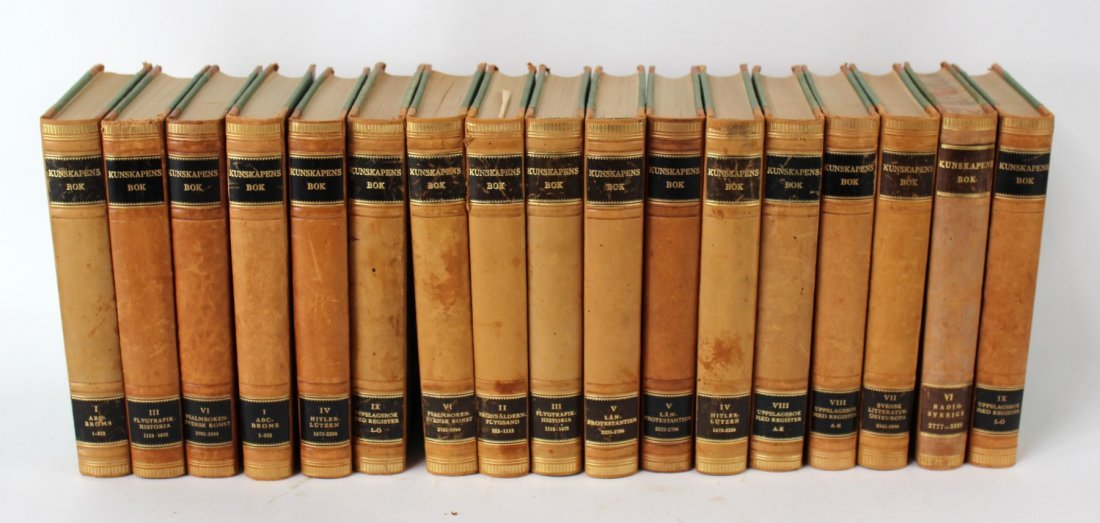 Lot of 17 vintage Swedish leather bound books