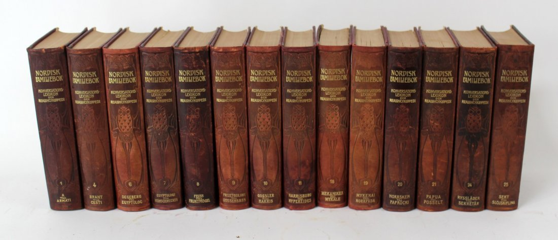 Lot of 14 vintage Swedish leather bound books