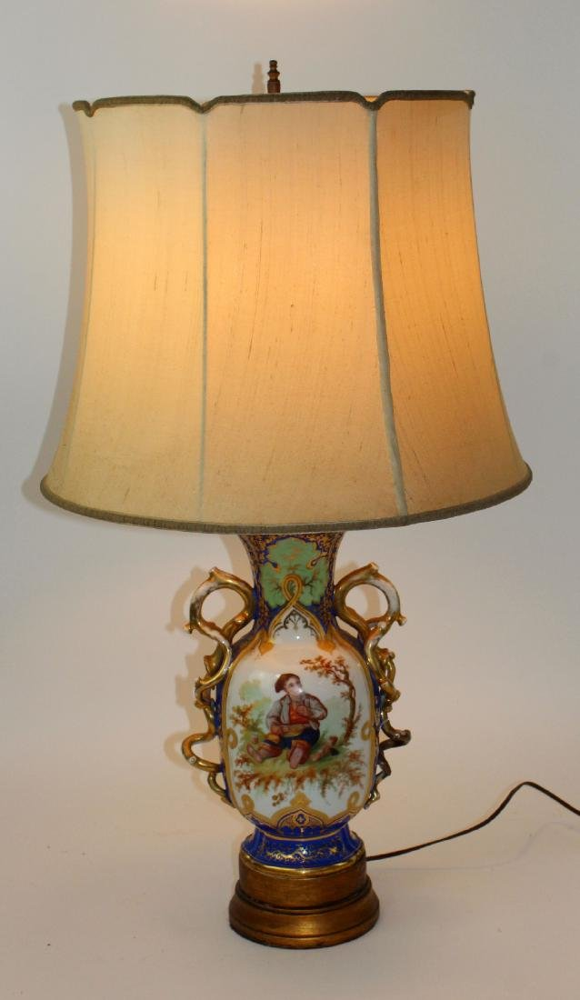 Rockingham porcelain urn converted to lamp