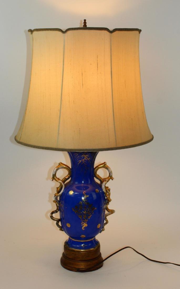 Rockingham porcelain urn converted to lamp - 2