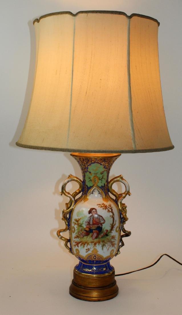 Rockingham porcelain urn converted to lamp - 3