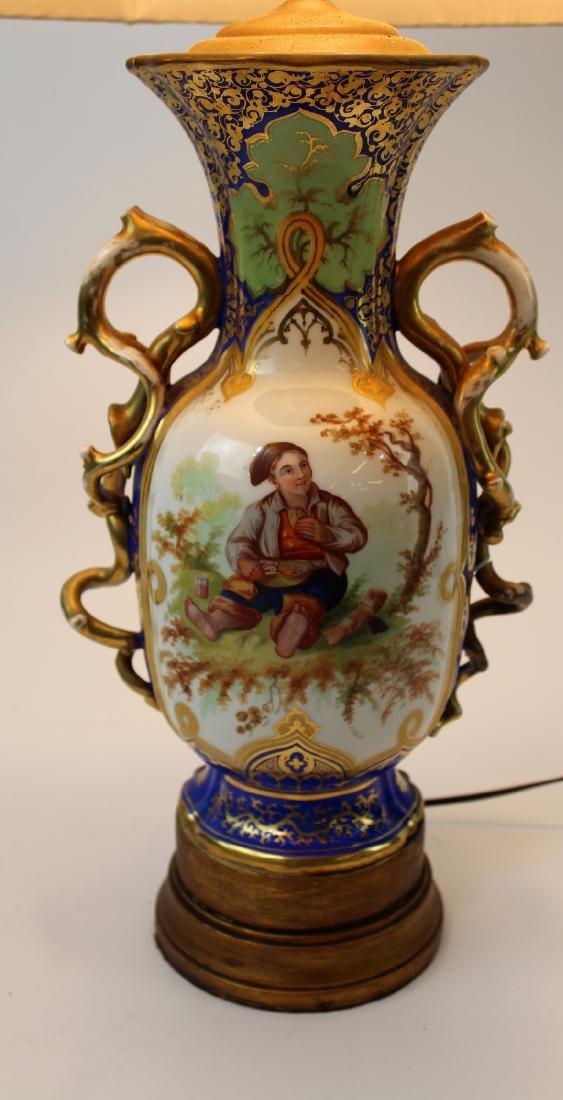 Rockingham porcelain urn converted to lamp - 4