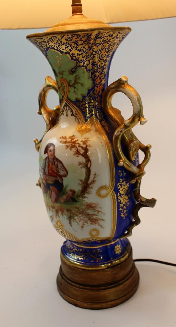 Rockingham porcelain urn converted to lamp - 5