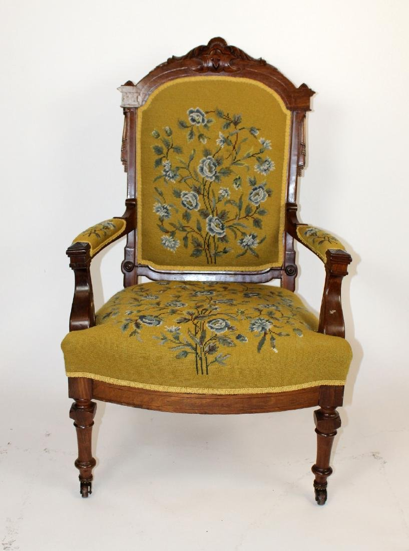 American Victorian parlor chair in walnut