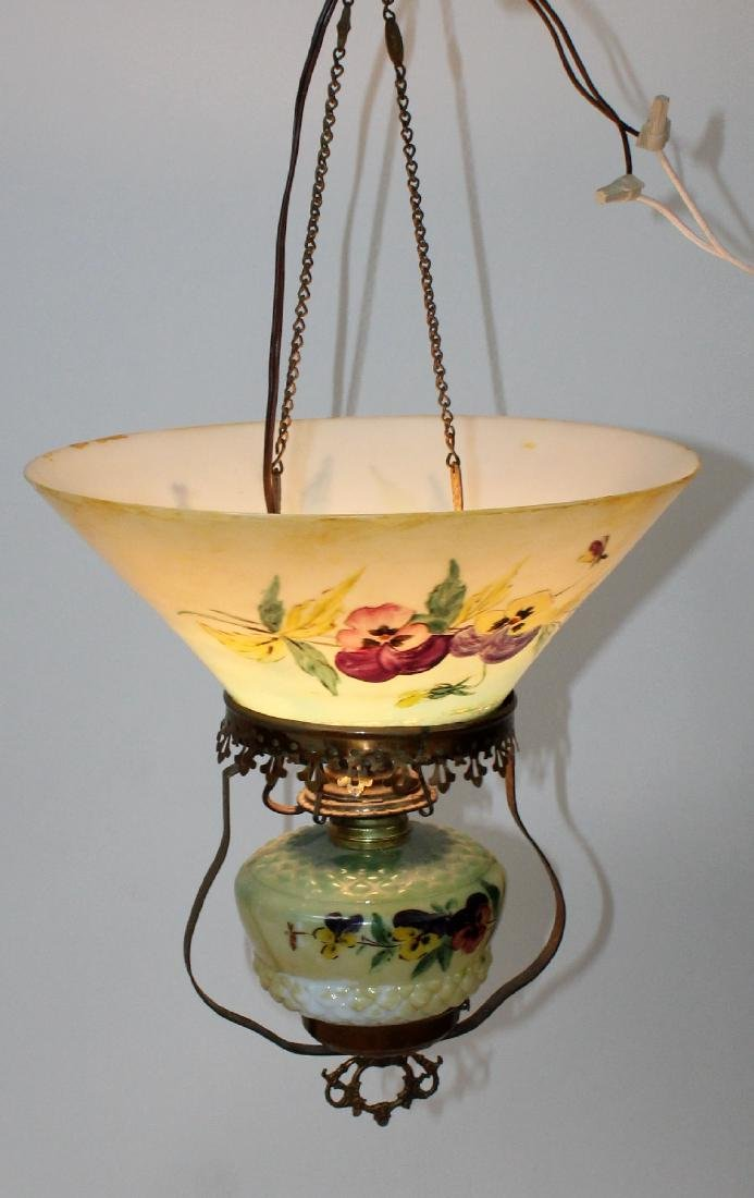 Victorian converted oil light with hand painted shade
