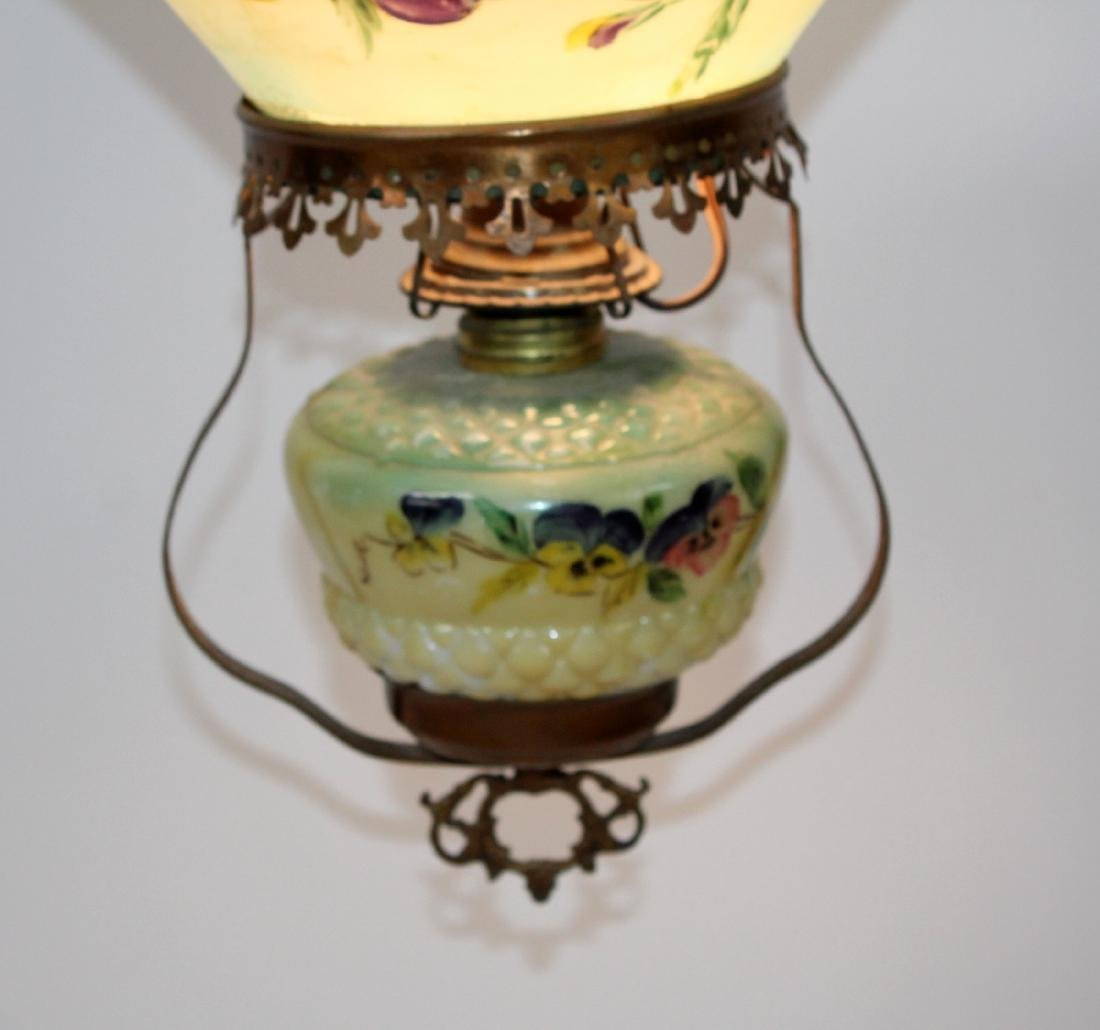 Victorian converted oil light with hand painted shade - 2