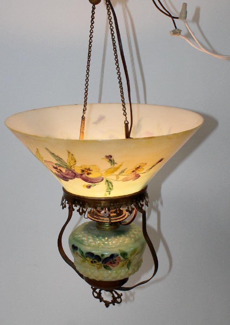 Victorian converted oil light with hand painted shade - 3