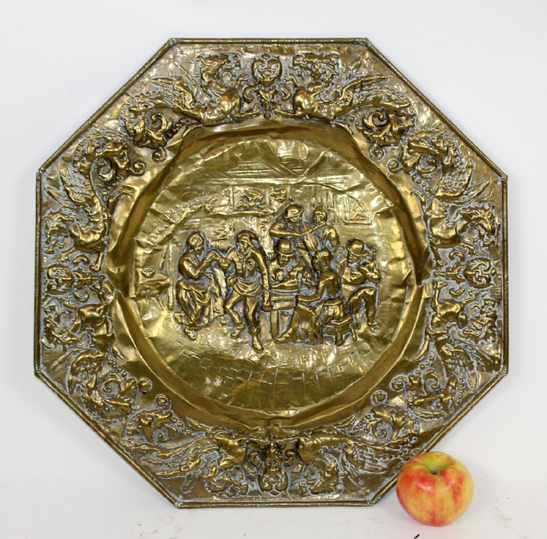 Embossed brass charger - 2