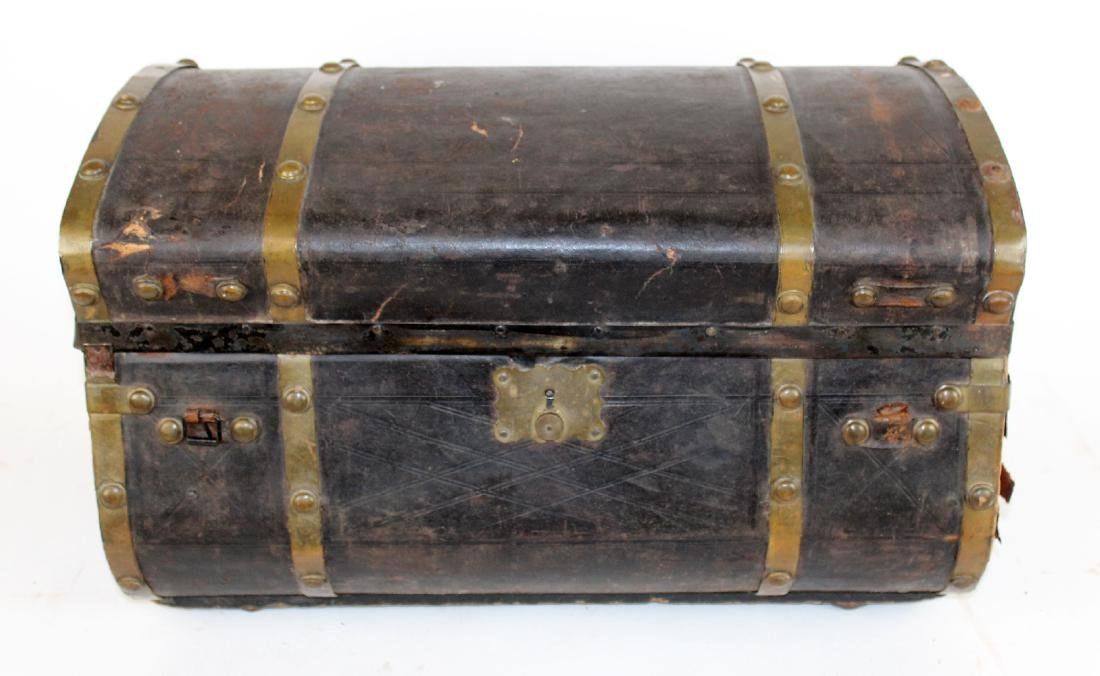 Antique leather dome top traveling trunk - 2