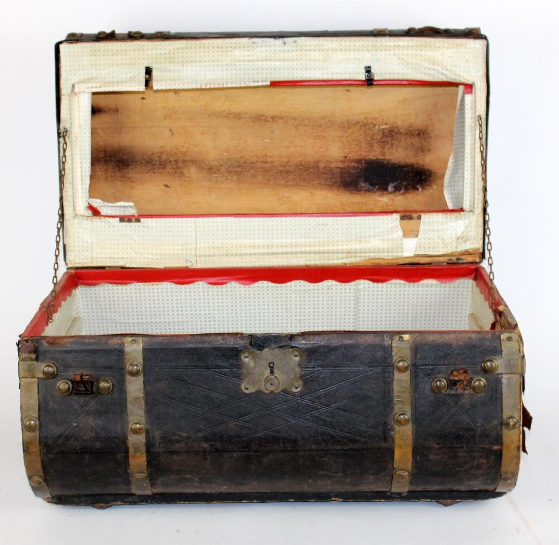 Antique leather dome top traveling trunk - 4