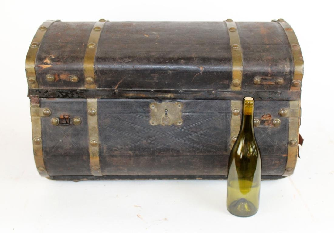 Antique leather dome top traveling trunk - 6