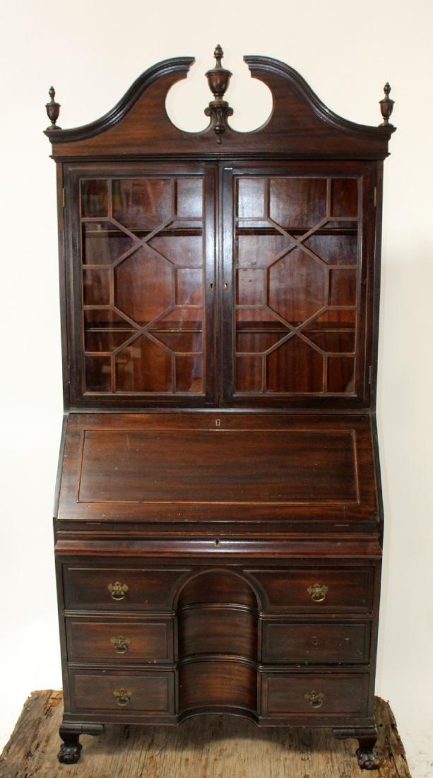 Vintage mahogany bureau bookcase with secretary - 3