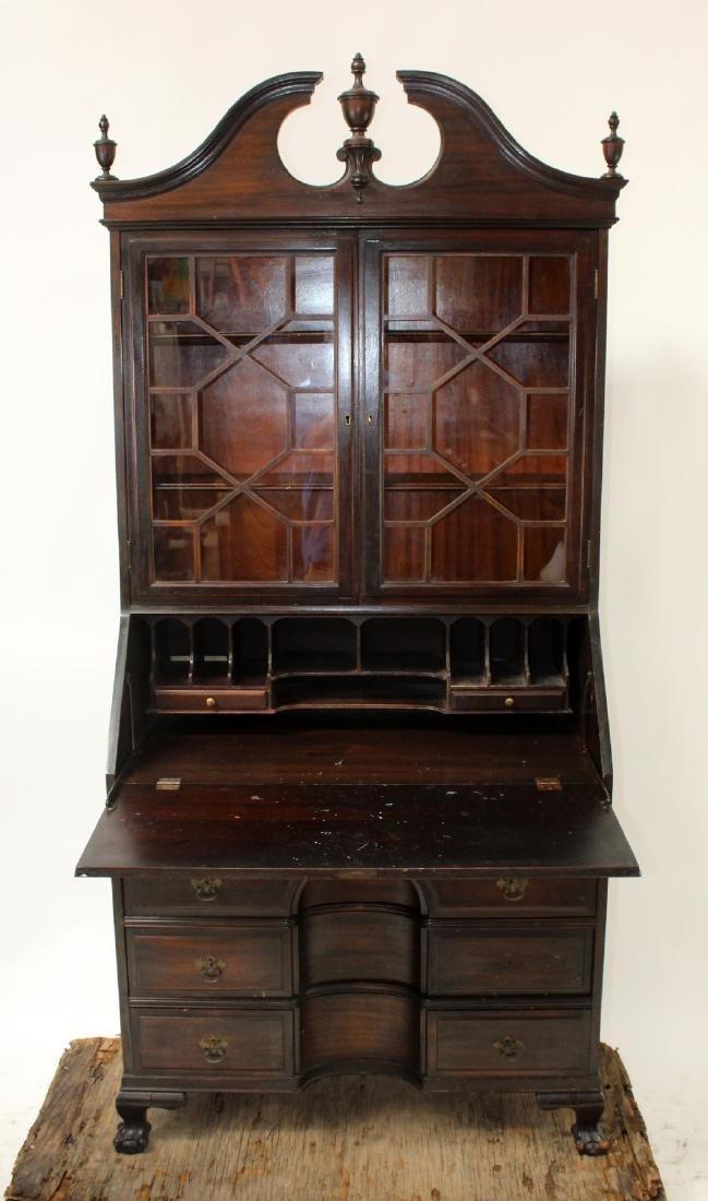 Vintage mahogany bureau bookcase with secretary - 6