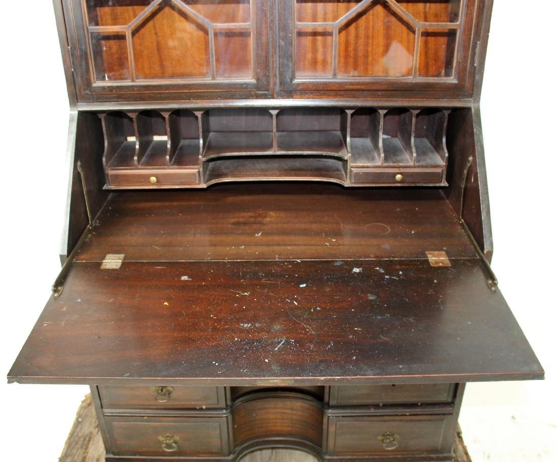 Vintage mahogany bureau bookcase with secretary - 7