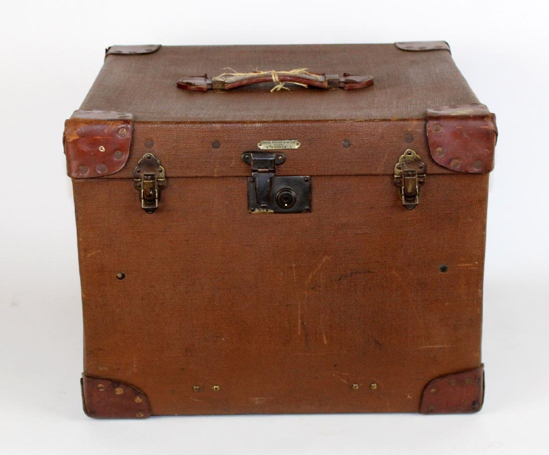 John Pound & Co Antique English canvas hat trunk