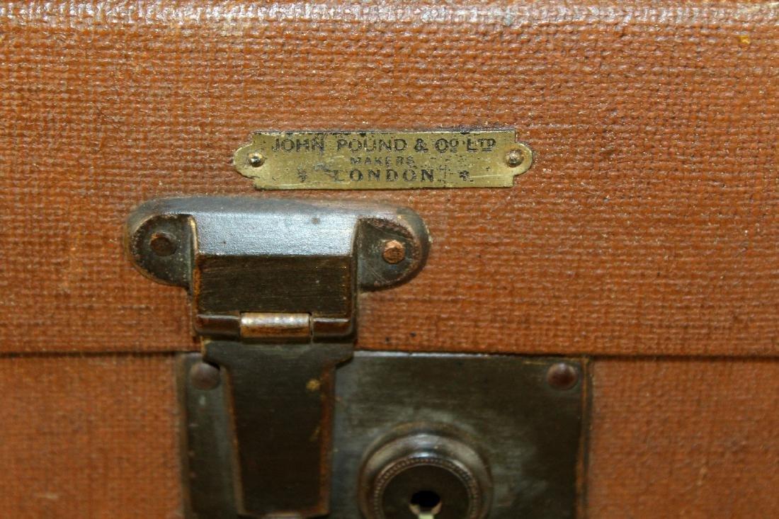 John Pound & Co Antique English canvas hat trunk - 2