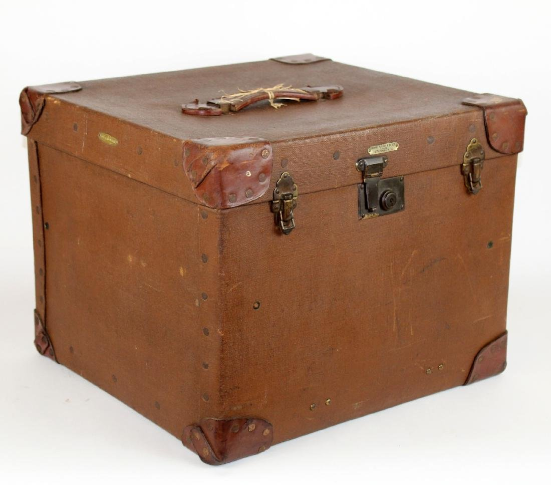 John Pound & Co Antique English canvas hat trunk - 5