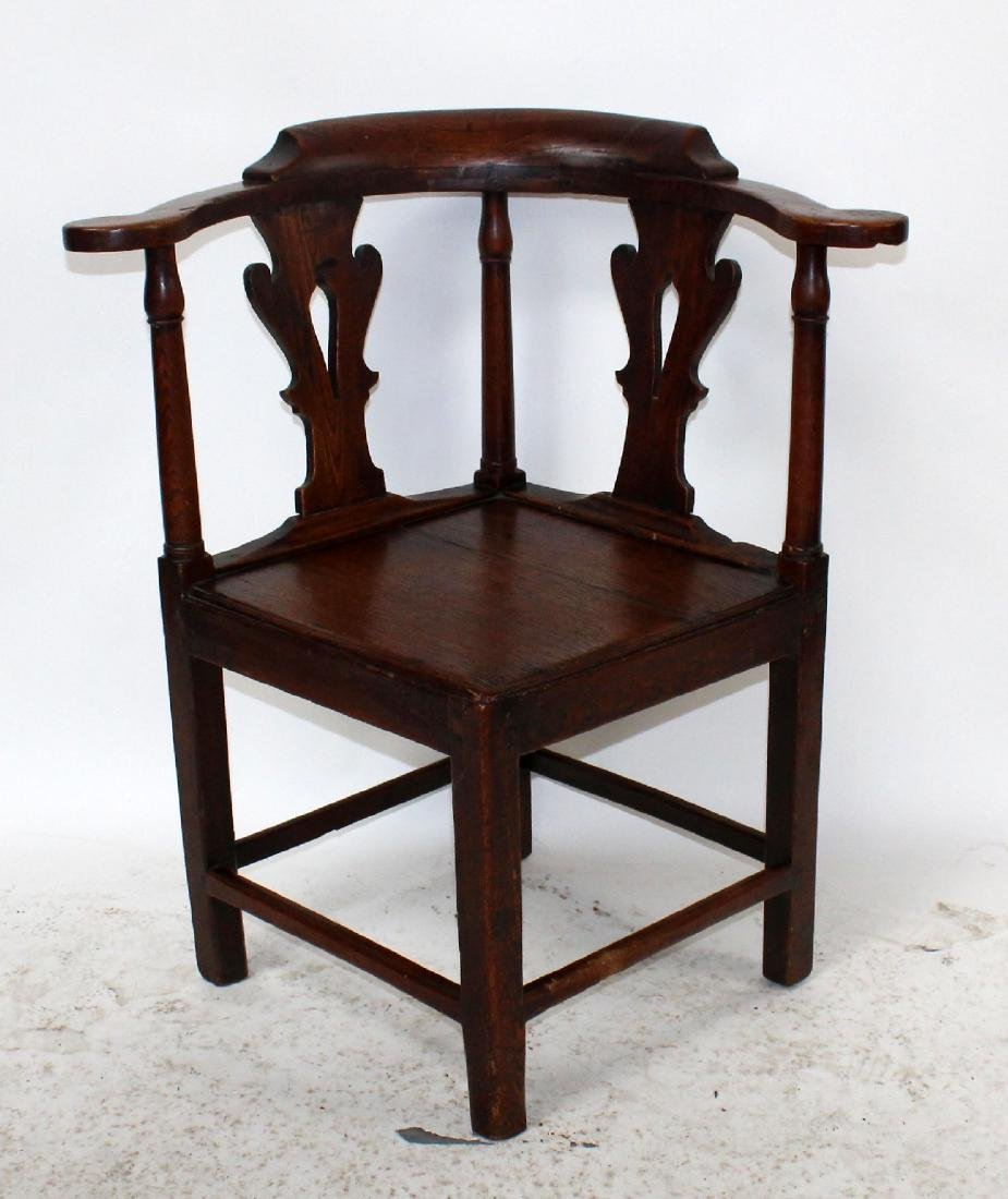 English Chippendale corner chair in oak