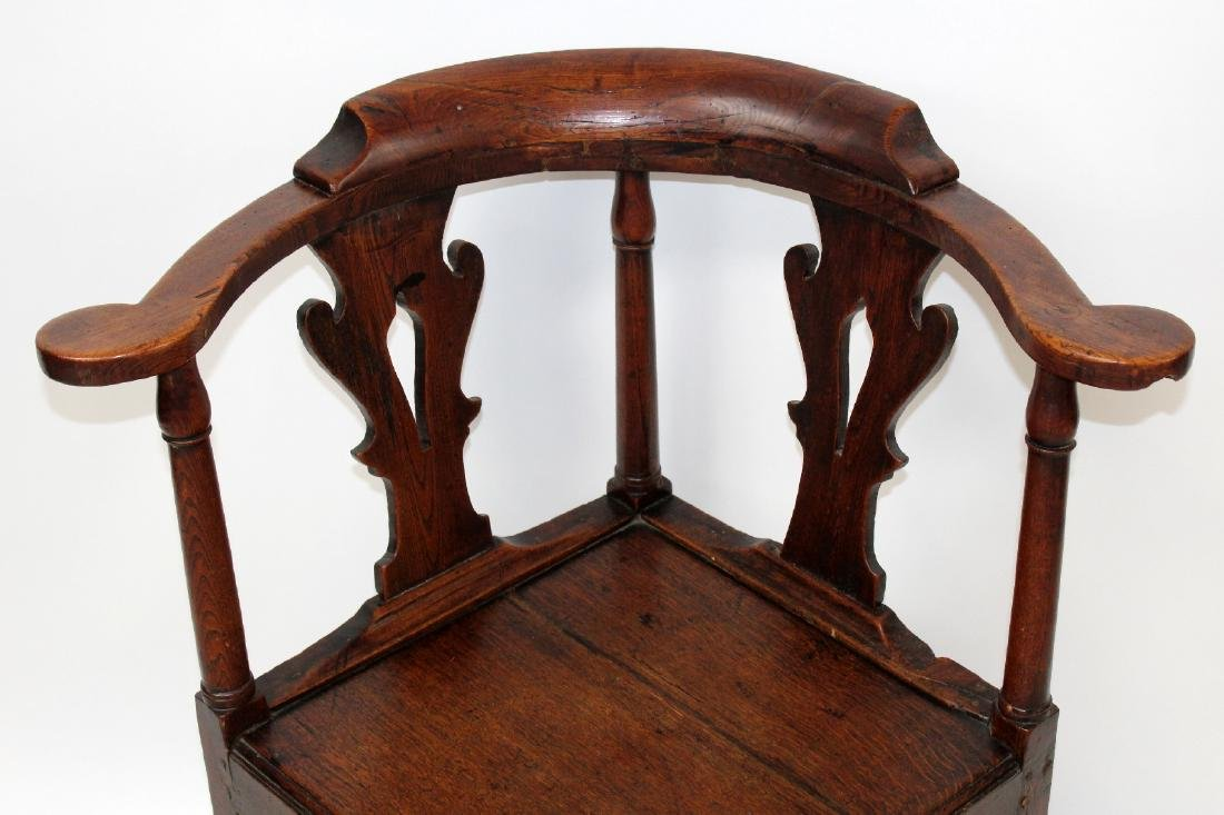 English Chippendale corner chair in oak - 3